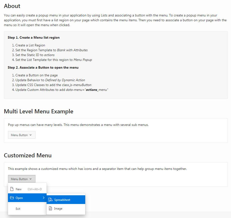 Instrukcja jak zaimplementować natywne popup menu w Oracle APEX