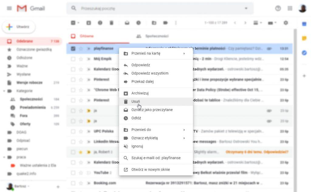 Kontekstowe menu dostępne z poziomu pojedyńczego listu e-mail