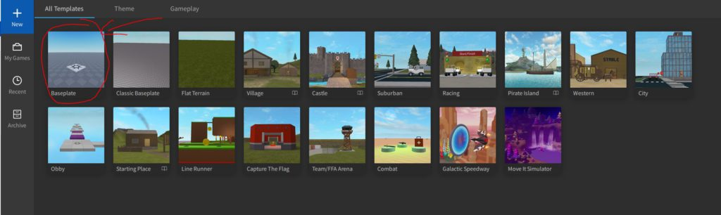 A screen showing templates in Roblox Studio.